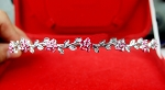 Bridal Headband 2.10 Ct Certified Diamond Ruby Sterling Silver Headpieces